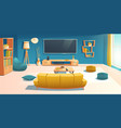 living room interior with sofa and tv apartment vector image
