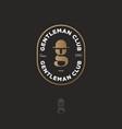 logo gentleman club gold letter g hat-bowler vector image vector image
