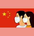 men women in medical mask on china flag vector image