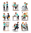 multitasking decorative icons set vector image vector image