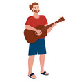 musician man playing guitar musical instrument vector image vector image