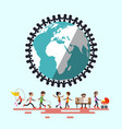 people around globe retro flat design vector image vector image