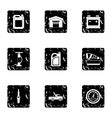 Repair machine icons set grunge style vector image vector image