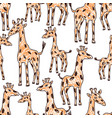 seamless background of the drawn giraffes vector image