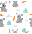seamless pattern cute rabbit with carrot vector image