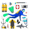 set of diving equipment vector image vector image