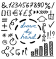 set of hand drawn currency simbols numbers arrows vector image vector image