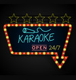 shining retro light banner karaoke on a black back vector image vector image