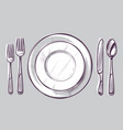 sketch plate fork and knife dinner cutlery vector image vector image