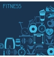 Sports background with fitness icons in flat style vector image vector image