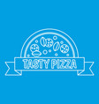 tasty pizza badge with ribbon icon outline style vector image vector image