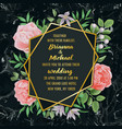 wedding invitation with flowers and greenery on vector image vector image