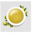 white ceramic bowl with olive oil and twig with vector image vector image