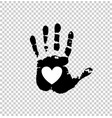 white heart in black palm print vector image