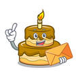 with envelope birthday cake character cartoon vector image vector image