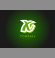 x alphabet letter logo green 3d company icon vector image vector image