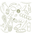 Hand drawn food doodles vector image