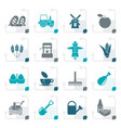 stylized agriculture and farming icons vector image