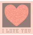 Vintage card for Valentines Day with hearts vector image