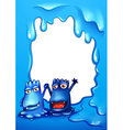 A border with two blue monsters vector image vector image
