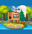 a nature wooden house vector image vector image