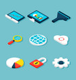 big data isometric objects vector image vector image