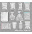 big set of polypropylene plastic packaging - vector image
