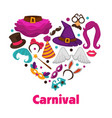 carnival party promo poster with accessories and vector image vector image