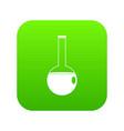 chemical beaker icon digital green vector image vector image