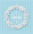 christmas wreath with 3d decorative snowflakes vector image vector image