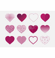 collection hearts icons in different vector image