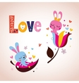 Cute bunnies in love Valentines day retro card vector image vector image