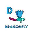 cute cartoon animals alphabet dragonfly vector image