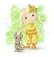 cute cartoon girl with her pet vector image vector image