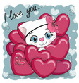cute cartoon kitten in hearts vector image vector image
