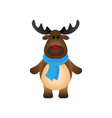 cute christmas reindeer flat style isolated on vector image