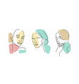 female line face abstract minimal logo vector image