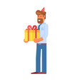 festive office manager with gift box vector image