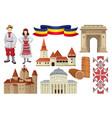 flat set of cultural symbols of romania vector image
