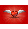 flaying heart on the red vector image vector image