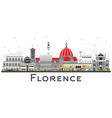 florence italy city skyline with color buildings vector image vector image