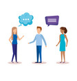 group of people with speech bubbles vector image