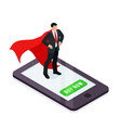 hr concept superhero on a smartphone screen vector image vector image