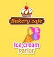 ice-cream and dessert logotype sweet logo vector image vector image