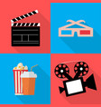 icons for movie popcorn in flat vector image