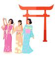 landmark japan shooting geisha torii vector image vector image