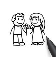 man and woman in doodles style vector image vector image