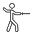 man fencing line icon sport and fighting fencer vector image vector image