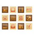 media and information icons over brown background vector image vector image