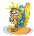 monkey surfer cartoon vector image vector image